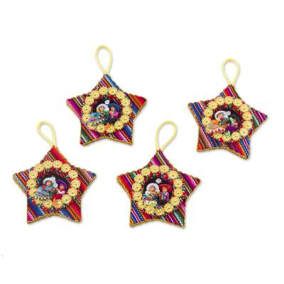 Cotton blend ornaments, 'Colorful Nativity' (set of 4) - Four Cotton Blend Nativity Scene Star Ornaments from Peru