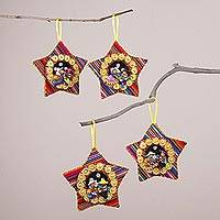 Cotton blend ornaments, 'Nativity Rhythms' (set of 4) - Four Cotton Blend Nativity Scene Star Ornaments from Peru