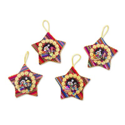 Four Cotton Blend Nativity Scene Star Ornaments from Peru