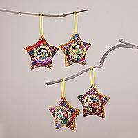 Cotton blend ornaments, 'Vibrant Nativity' (set of 4) - Four Cotton Blend Nativity Scene Star Ornaments from Peru