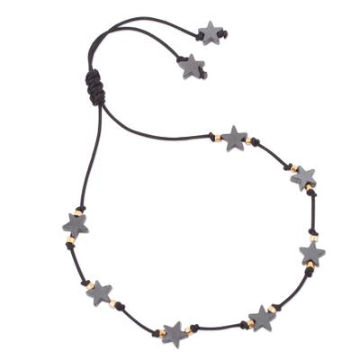 Handcrafted Hematite Star Bracelet with 24k Gold Accents