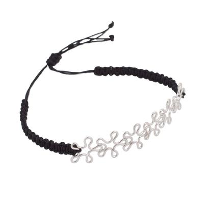 Handmade Sterling Silver Abstract Flower Pendant Adjustable Bracelet