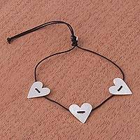 Sterling silver pendant bracelet, 'Loving Trio' - Adjustable Sterling Silver Heart Pendant Cord Necklace