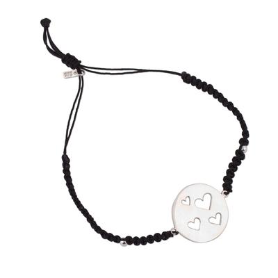 Adjustable Sterling Silver Pendant Bracelet on Black Cord