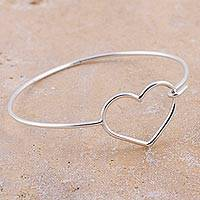 Sterling silver bangle bracelet, 'Whispers of the Heart' - 925 Sterling Silver Heart Bangle Bracelet from Peru