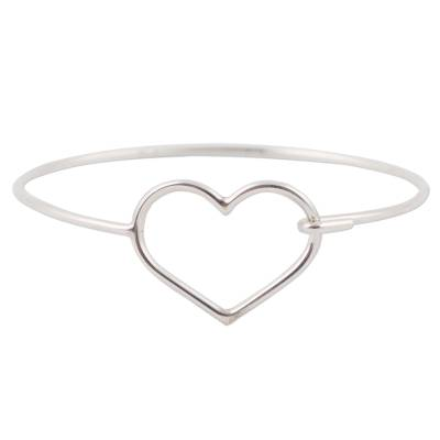 925 Sterling Silver Heart Bangle Bracelet from Peru