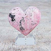 Rhodonite sculpture, 'Candy Heart' - Handcrafted Rhodonite Heart Sculpture from Peru