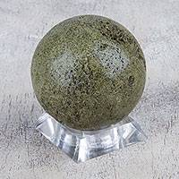 Epidote sculpture, 'Planetary Green' - Handcrafted Spherical Epidote Sculpture from Peru