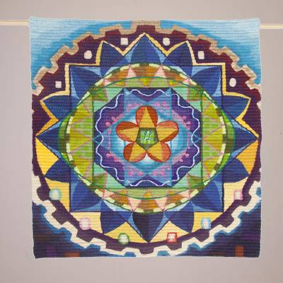 Wool blend tapestry, 'Vibrant Geometry' - Handwoven Wool Blend Geometric Wall Hanging from Peru