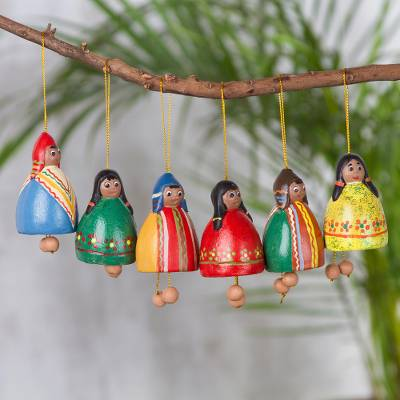Ceramic ornaments, 'Enchanting Bells' (set of 6) - Set of Six Handcrafted Ceramic Bell Ornaments from Peru