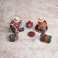 Ceramic figurines, 'Couple with Llamas' (set of 6) - Handcrafted Petite Ceramic Peruvian Sculptures (Set of 6)