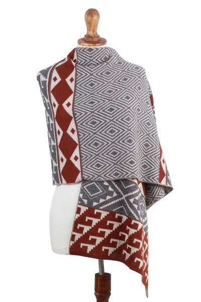 Alpaca blend shawl, 'Geometric Andes' - Alpaca Blend Geometric Shawl in Brick and Slate from Peru