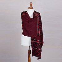 Alpaca blend shawl, 'Geometric Andes in Crimson' - Alpaca Blend Shawl with Crimson and Black Geometric Motifs