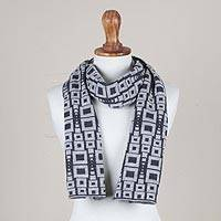Alpaca blend scarf, 'Andean Windows in Slate' - Alpaca Blend Scarf in Pearl Grey and Slate from Peru