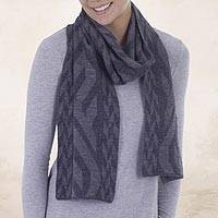 Alpaca blend scarf, 'Mountain Scent in Grey' - Alpaca Blend Scarf in Dolphin Grey and Slate from Peru