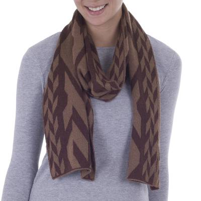Alpaca blend scarf, 'Mountain Scent in Brown' - Alpaca Blend Scarf in Golden Brown and Coffee from Peru