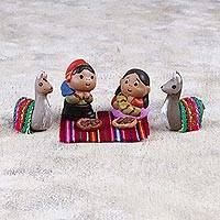 Ceramic figurine set, 'Andean Picnic' (7 pieces) - Ceramic Figurine Set of Couple with Llamas (7 Pieces)