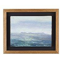 'Magdalena del Mar' - Signed Impressionist Seascape Painting with Frame from Peru