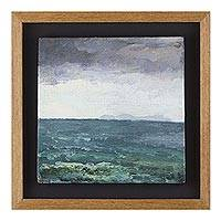 'Serene Infinity' - Signed Impressionist Seascape Painting with Frame from Peru