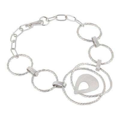 Circular Sterling Silver Pendant Bracelet from Peru