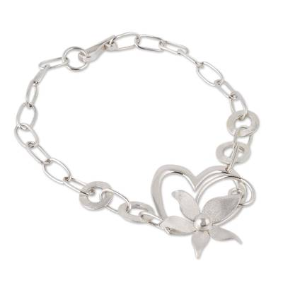 Sterling Silver Floral Heart Pendant Bracelet from Peru