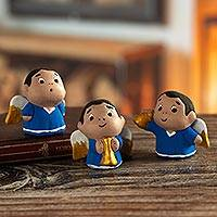 Ceramic figurines, 'Little Angel Musicians' (set of 3) - Petite Ceramic Angel Figurines in Blue Robes (Set of 3)