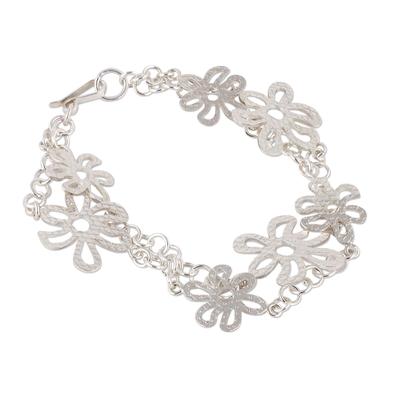 925 Sterling Silver Floral Link Bracelet from Peru
