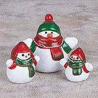 Ceramic figurines, 'Little Snowman Family' (set of 3) - Ceramic Winter Holiday Snowman Figurines (Set of 3)
