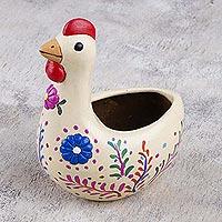 Ceramic sculpture, 'Sounds of Dawn' - Multicolor Ceramic Chicken Sculpture from Peru