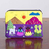 Cotton blend coin purse, 'Andean Sunrise' - Embroidered Multicolor Cotton Blend Coin Purse from Peru