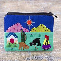 Cotton blend coin purse, 'Andean Sunshine' - Embroidered Multicolor Cotton Blend Coin Purse from Peru