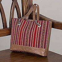 Wool blend and leather accent tote handbag, 'Andean Elegance' - Wool Blend and Leather Accent Tote Handbag from Peru