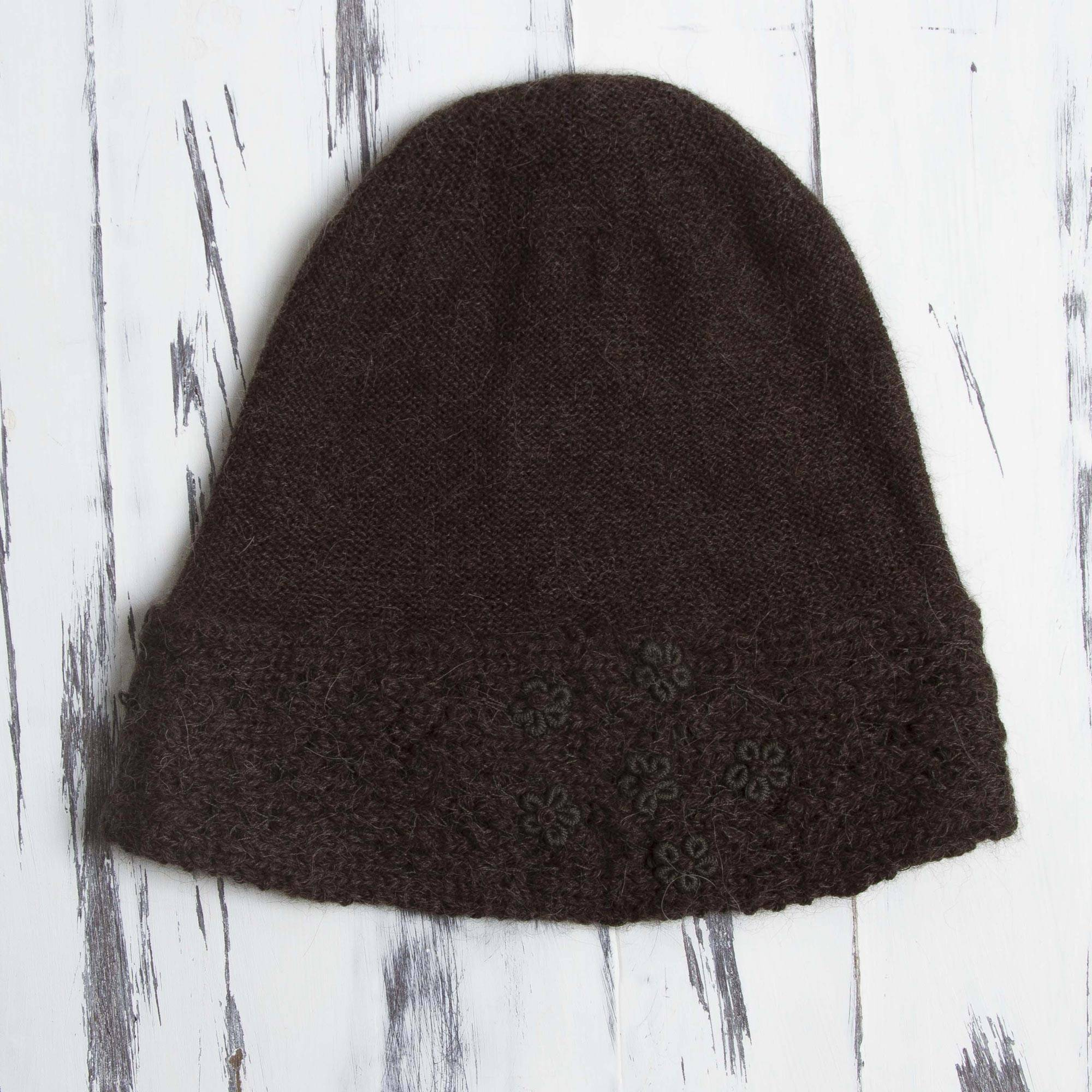 c6a147a8b83 100% Alpaca Embroidered Floral Hat in Chocolate from Peru - Flowery ...