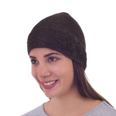 100% Alpaca Embroidered Floral Hat in Chocolate from Peru