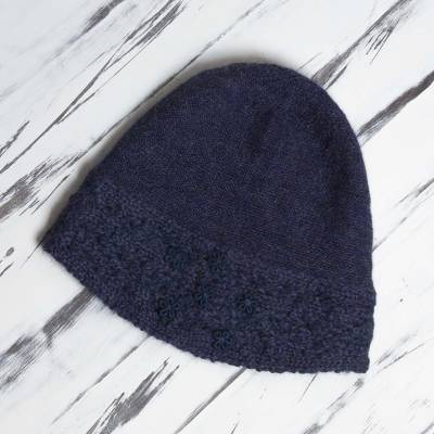 01419d24853 100% Alpaca Wool Embroidered Floral Hat in Navy from Peru - Flowery ...