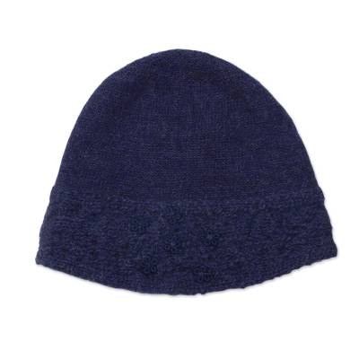 9c3c85e0961 100% Alpaca Wool Embroidered Floral Hat in Navy from Peru