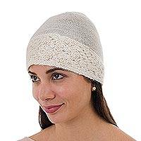 100% alpaca hat, 'Flowery Hillside in Ivory' - 100% Alpaca Wool Embroidered Floral Hat in Ivory from Peru