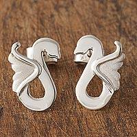 Sterling silver drop earrings, 'Avian Love' - 925 Sterling Silver Swan Drop Earrings from Peru