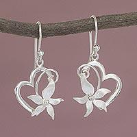 Sterling silver heart dangle earrings, 'Flowering Rapture'