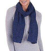 100% alpaca scarf, 'Royal Fashion in Indigo' - 100% Alpaca Wool Wrap Scarf in Indigo from Peru