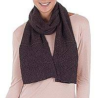 100% alpaca scarf, 'Royal Fashion in Chocolate' - 100% Alpaca Wool Wrap Scarf in Chocolate from Peru