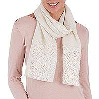 100% alpaca scarf, 'Royal Fashion in Ivory' - 100% Alpaca Wool Wrap Scarf in Ivory from Peru