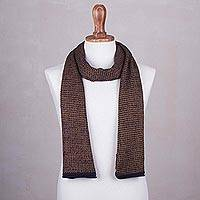 100% alpaca scarf, 'Midnight Caramel' - 100% Alpaca Wool Scarf in Midnight and Caramel from Peru