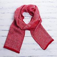 100% alpaca scarf, 'Chili and Eggshell' - 100% Alpaca Wool Scarf in Chili and Eggshell from Peru