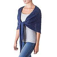 100% alpaca shawl, 'Andean Royalty in Indigo' - 100% Alpaca Wool Patterned Shawl in Indigo from Peru