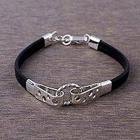 Leather and sterling silver wristband bracelet, 'Modern Connection' - Black Leather and 925 Sterling Silver Wristband Bracelet