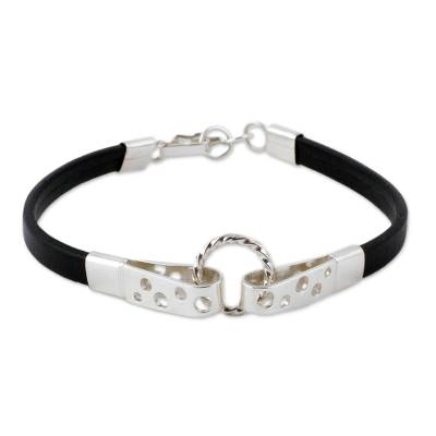 Black Leather and 925 Sterling Silver Wristband Bracelet