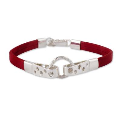 Crimson Leather and 925 Sterling Silver Wristband Bracelet