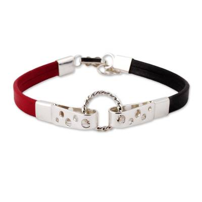 Black and Crimson Leather Sterling Silver Wristband Bracelet