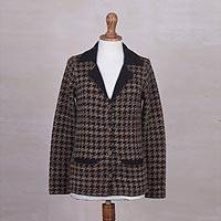 100% alpaca jacket, 'Chestnut Femme' - Chestnut and Black Women's Alpaca Knit Jacket with 2 Pockets